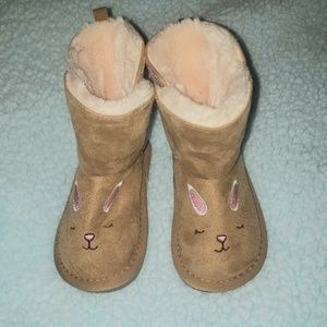 Girls Velcro Tanned Bunny Fur Lined Boots